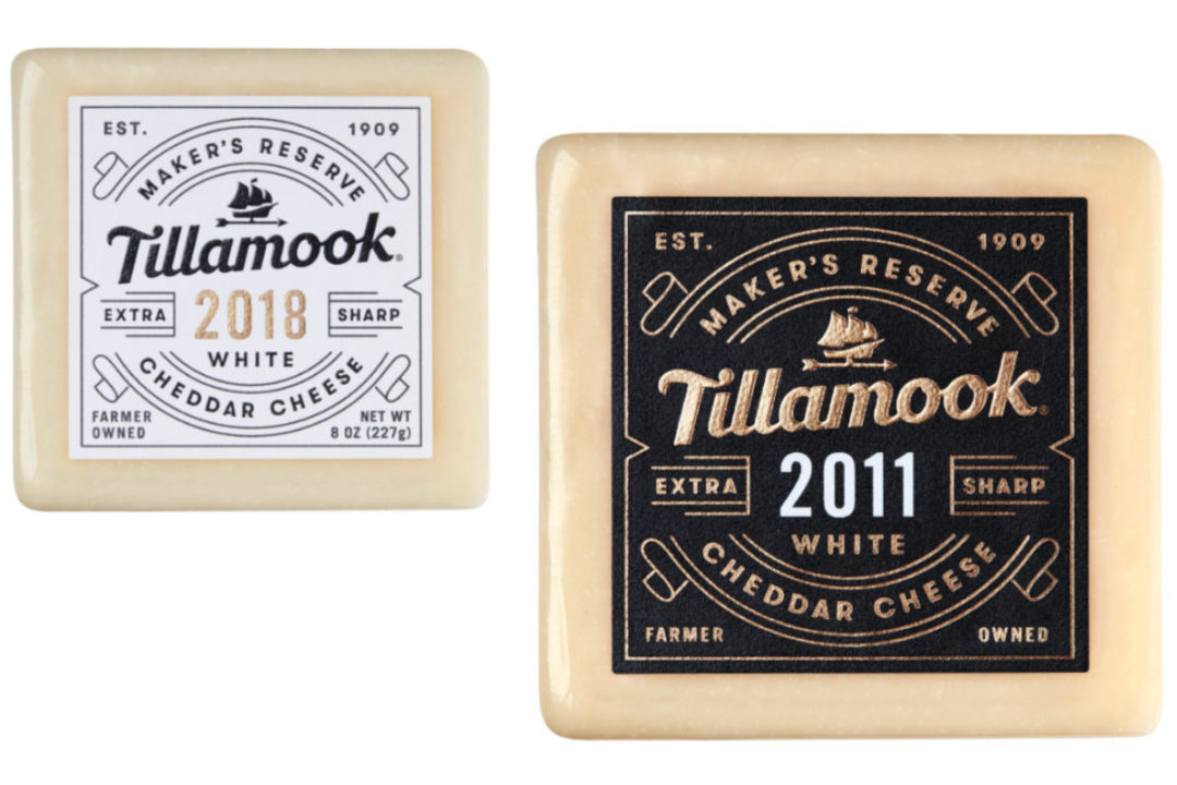 Tillamook 2011 and 2018 white cheddar vintage cheeses