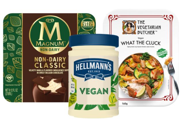 Magnum vegan ice cream, Helman's vegan Mayo and What the Cluck vegan dinner from Unilever