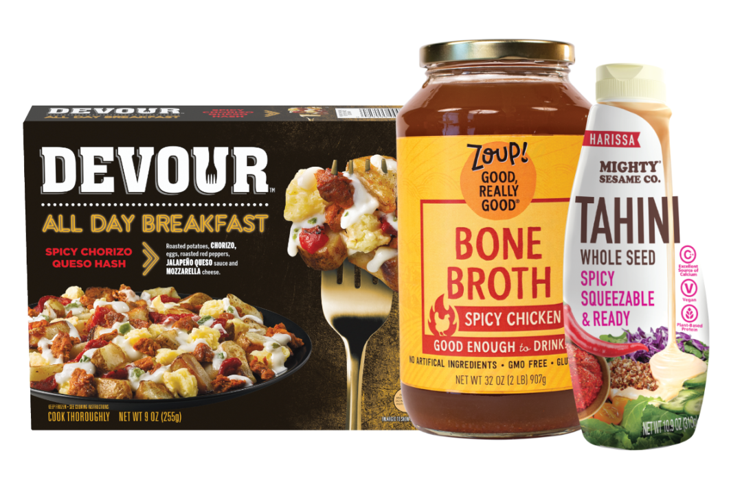 Devour's spicy chorizo queso hash, Zoup's spicy chicken bone broth and harissa-flavored tahini from The Mighty Sesame Co.