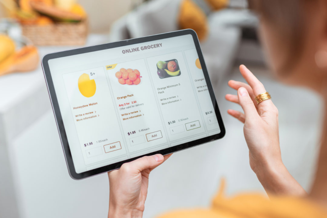 Shopping for groceries online using a tablet