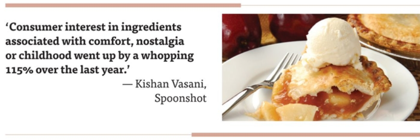 """Consumer interest in ingredients associated with comfort, nostalgia or childhood went up by a whopping 115% over the last year,"" said Kishan Vasani, co-founder and chief executive officer of Spoonshot."
