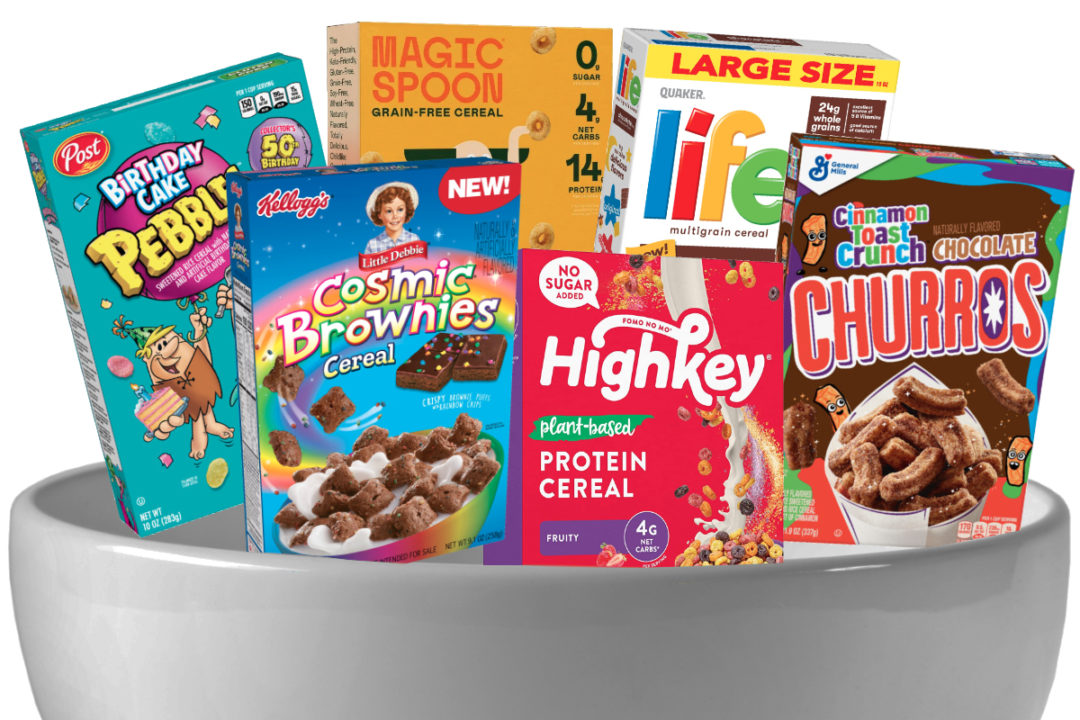 New cereals coming out of a bowl
