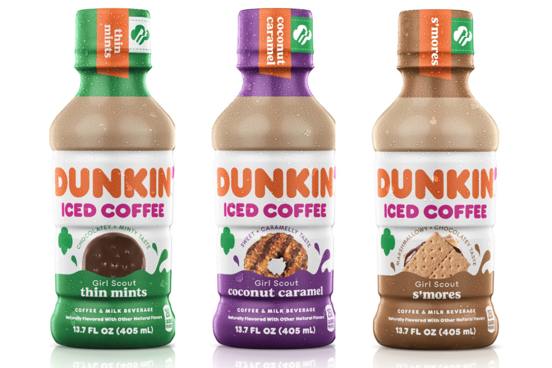 Dunkin' ready-to-drink bottled iced coffee in Girl Scout Cookie inspired flavors