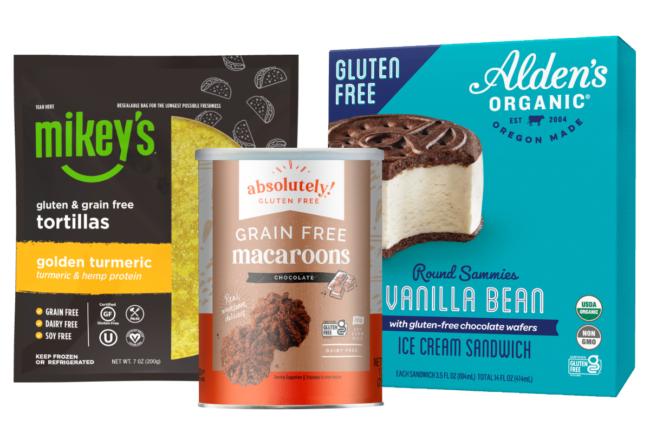 Mikey's grain-free and gluten-free totrillas, Asbolsutely Gluten Free's gluten-free macaroons, Alden's Organic's gluten-free round sammies vanilla bean ice cream sandwhiches