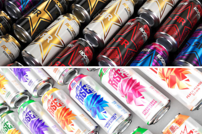 Mtn Dew Rise and Rockstar energy beverages