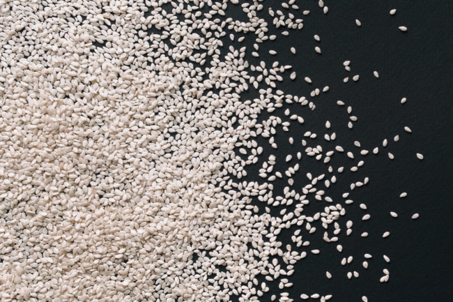 Scattered sesame seeds