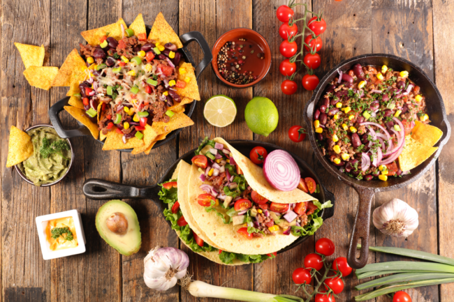 variety of Mexican food dishes