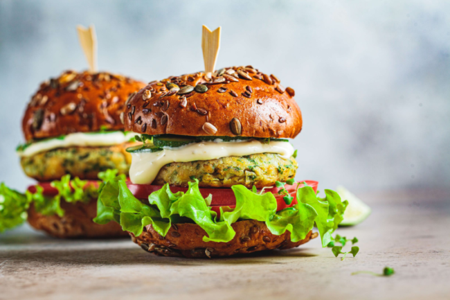 Plant-based burger alternative featuring savory ingredients from Innova Flavors