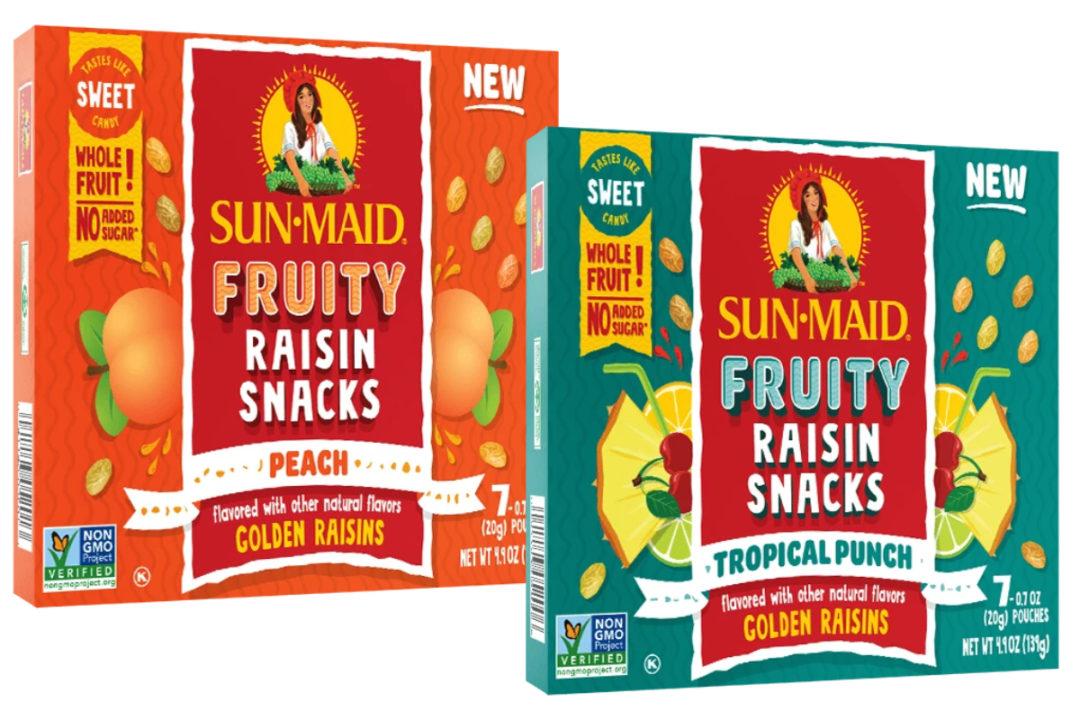 Sun-Maid Growers of California peach and tropical punch fruity raisin snacks