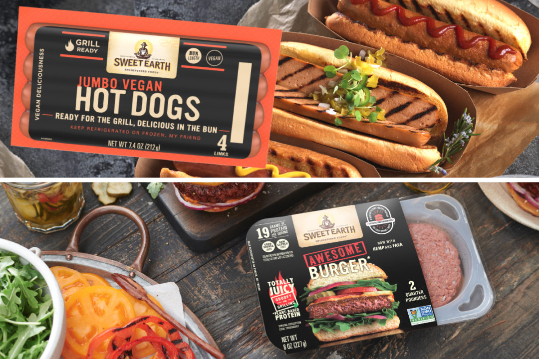 Sweet Earth Foods vegan hot dogs and reformulated Awesome Burger
