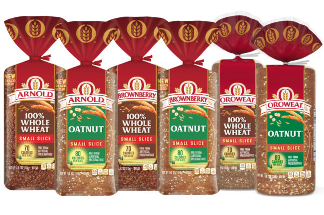 Arnold, Brownberry and Oroweat Small Slice Oatnut and 100% Whole Wheat bread