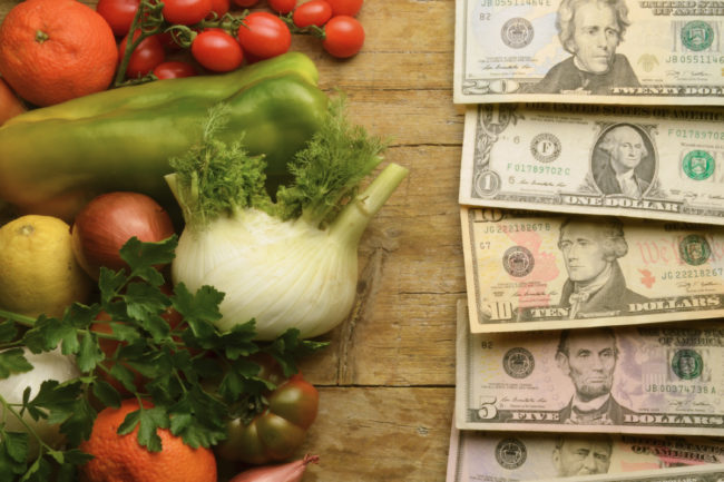 Healthy food and money