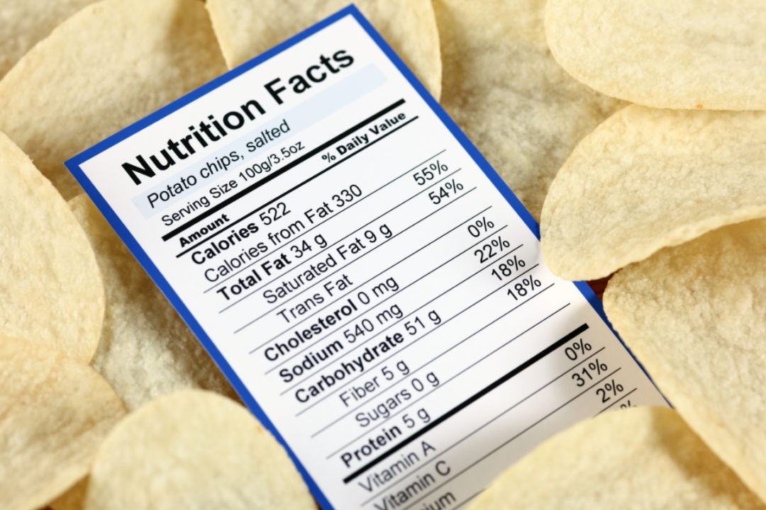 Nutrition Facts Panel in a bed of potato chips