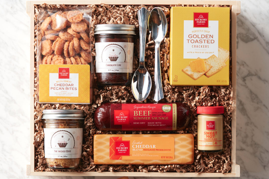 Hickory Farms and Wicked Good Cupcakes products in box