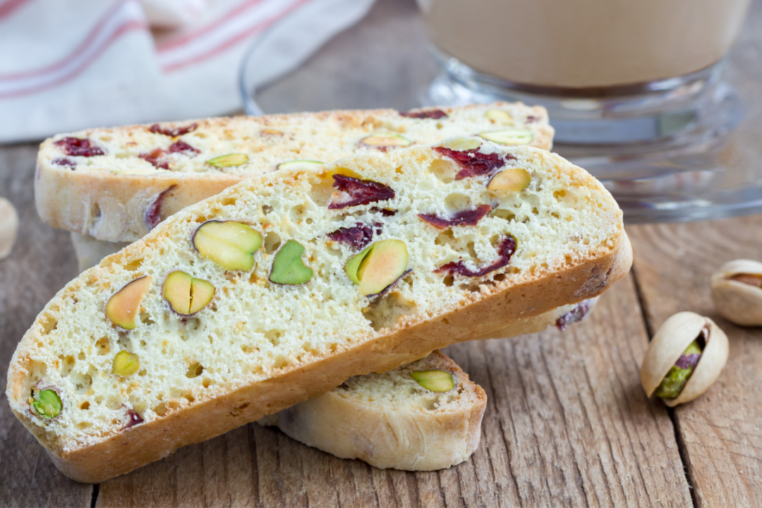 Bread baked with nuts and fruit