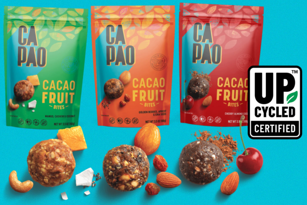 CaPao Cacaofruit Bites and upcycled certification mark