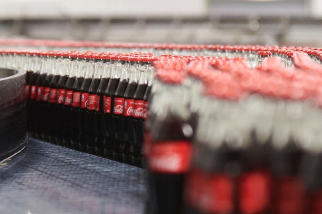 Coca-Cola beverages on bottling line