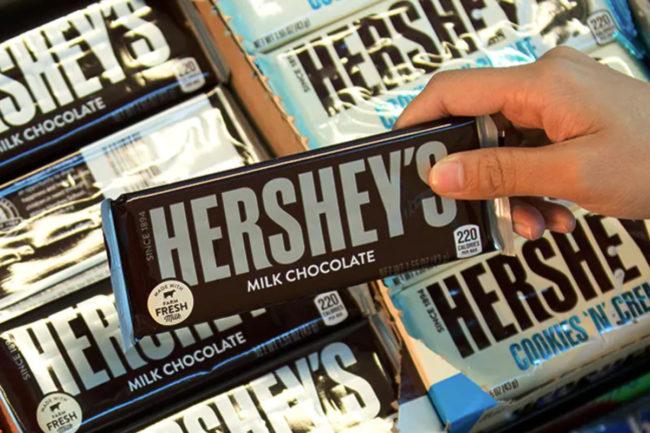 Grabbing Hershey's chocolate bar
