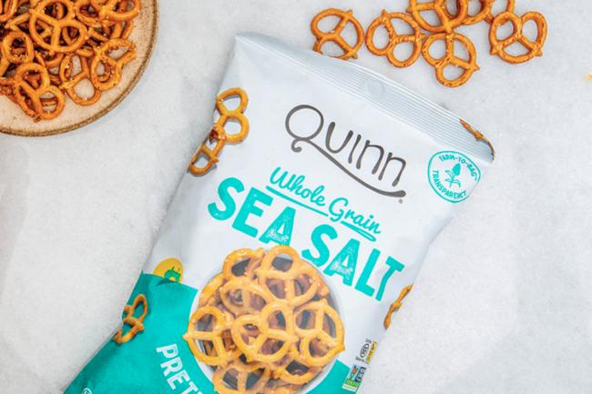 Whole grain sea salt pretzels from Quinn