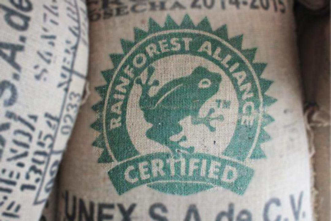 Rainforest Alliance Certified logo on burlap sack of coffee beans