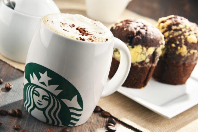 Starbucks coffee and muffins