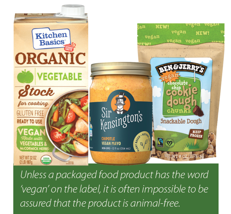 Products with vegan or animal free labels
