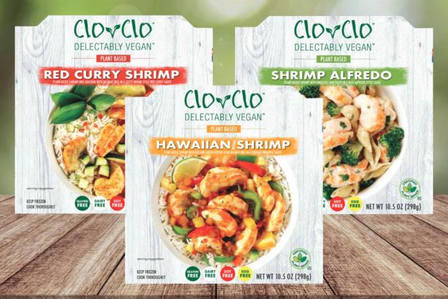 Clo-Clo Vegan Foods plant-based shrimp entree bowls