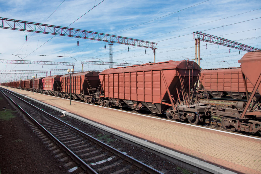 Railway with grain carrier trains
