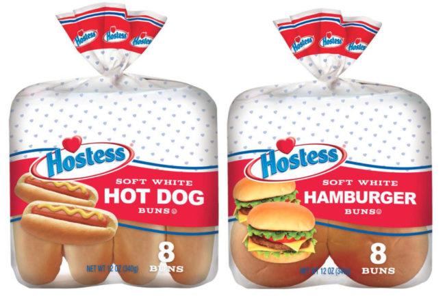 Hostess hamburger and hot dog buns