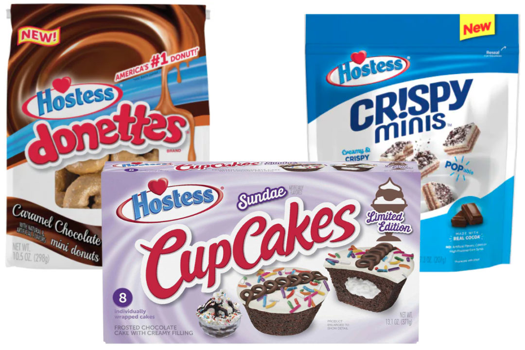 Hostess caramel chocolate Donettes, Sundae CupCakes and cookies and creme Crispy Minis