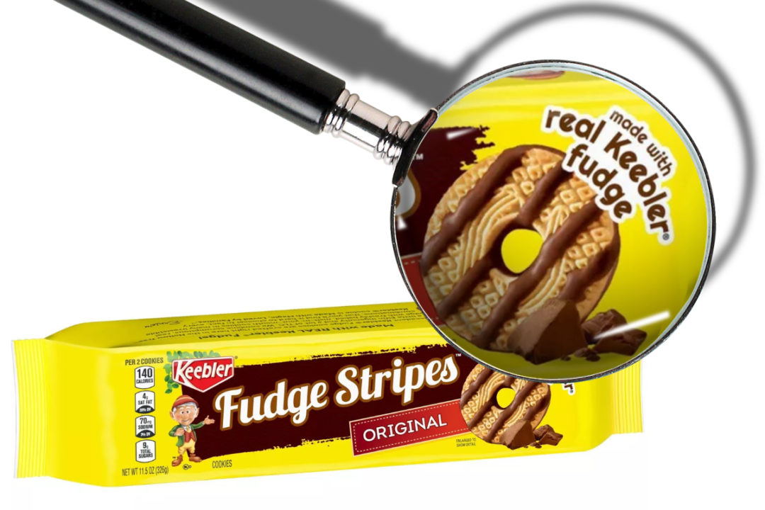 Keebler Fudge Stripes cookies made with real Keebler fudge claim