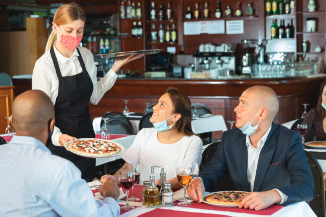 Dining at a pizza restaurant during COVID-19 pandemic