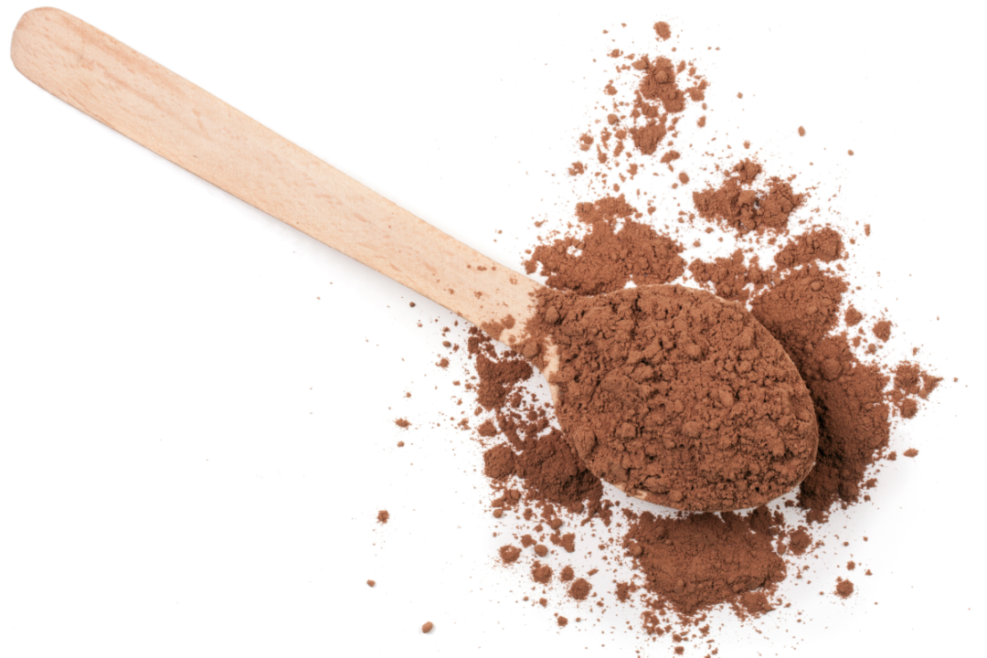 Dry beverage mix in a spoon