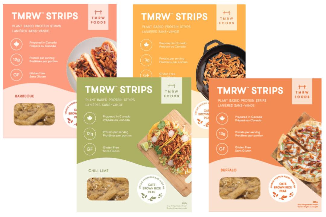 TMRW Foods plant-based strips and shreds