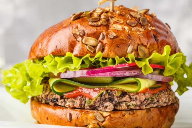 Plant-based burger made with ingredients from Chinova Bioworks