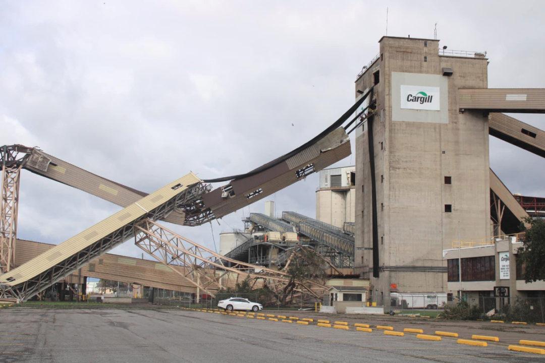 Cargill grain facility after Hurricane Ida damage
