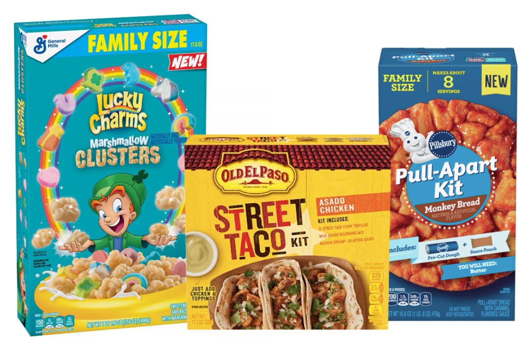 Lucky Charms Marshmallow Clusters cereal, Old El Paso Street Taco Kit and Pillsbury Pull-Apart Kit