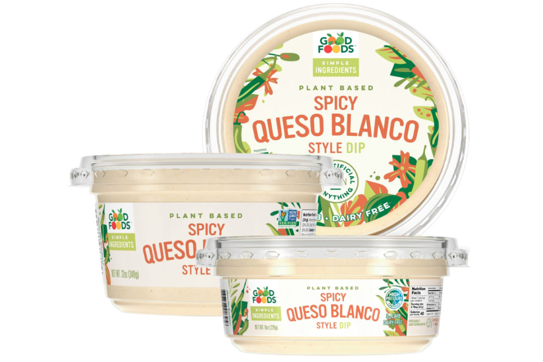 Good Foods plant-based Spicy Queso Blanco Style Dip