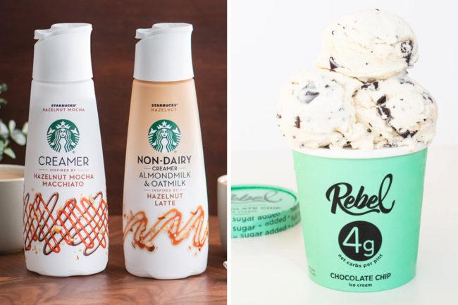 Starbucks coffee creamers and Rebel ice cream