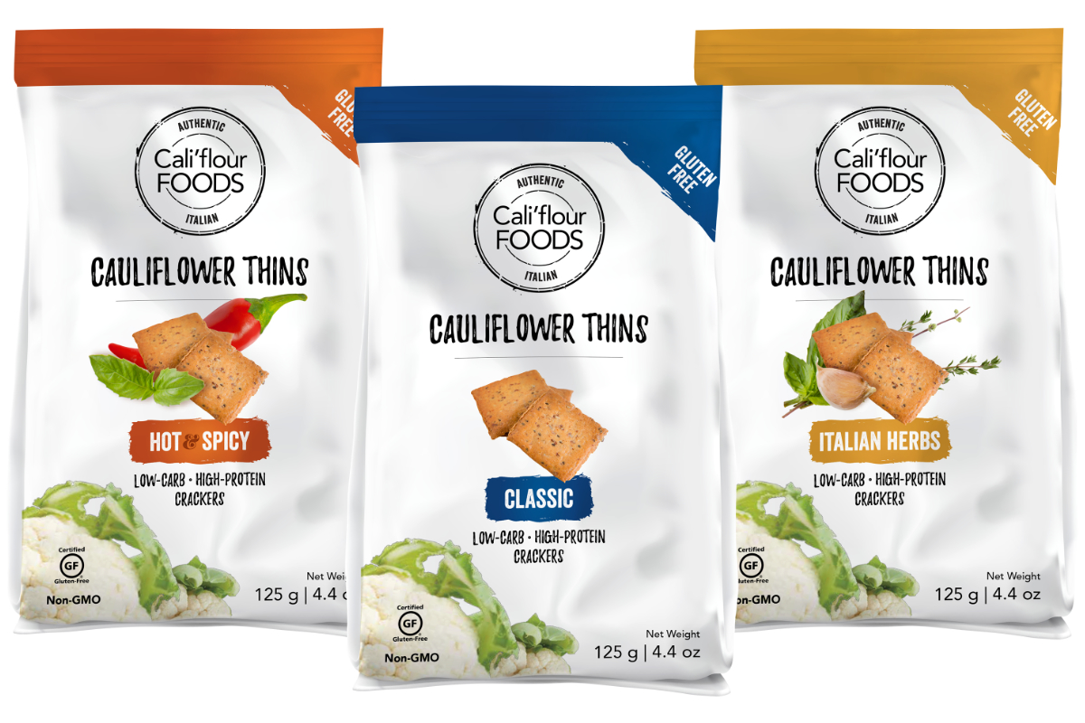 CaliFlour Foods cauliflower thins crackers