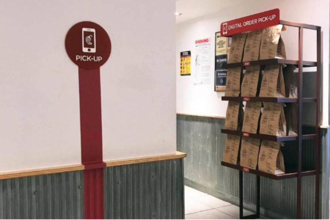 Chipotle pick-up shelves