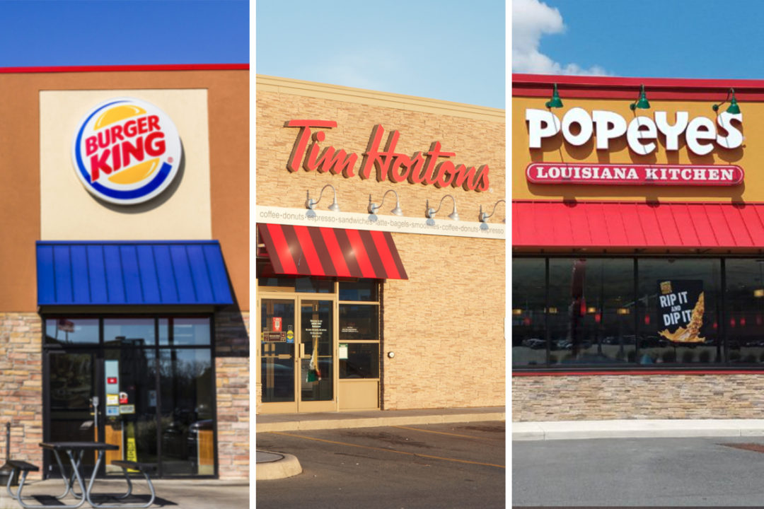 Restaurant Brands International restaurants - Burger King, Tim Hortons and Popeyes