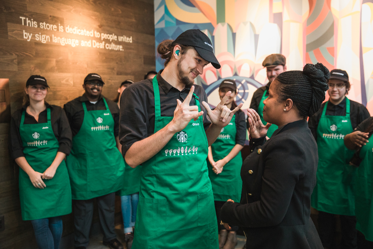 Starbucks sign language store workers