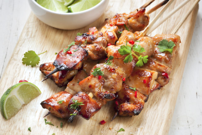 Satay chicken skewers with lime and chili