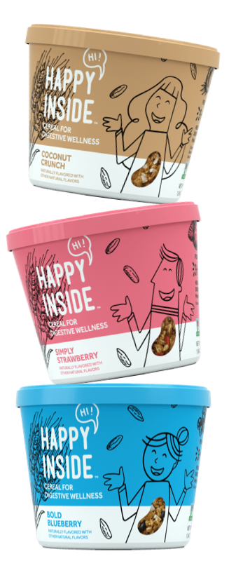 Hi! Happy Inside cereal cup stack, Kellogg