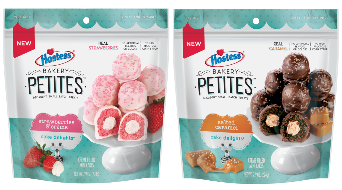New Hostess Bakery Petites Cake Delights strawberry creme and salted caramel