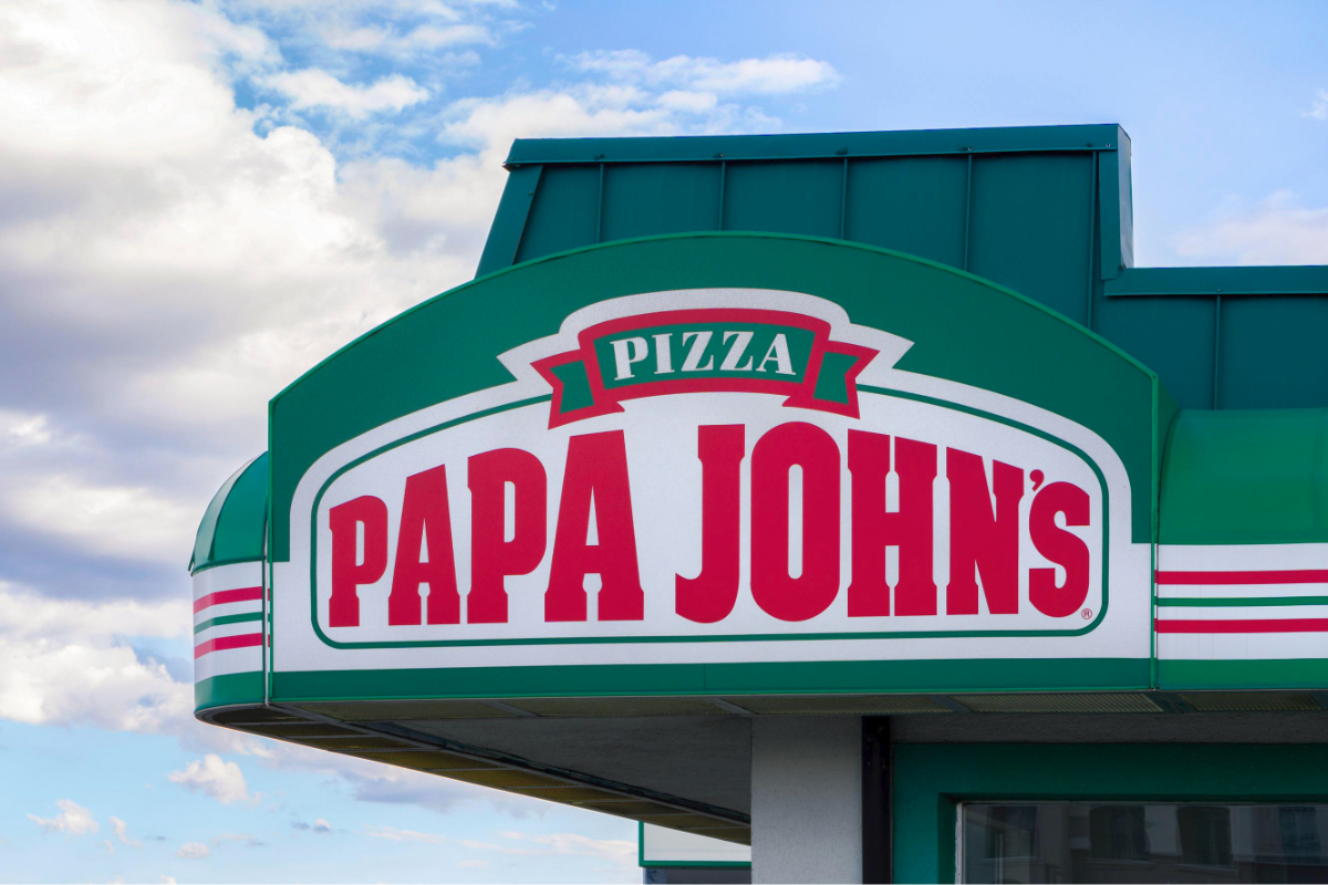Papa Johns Pizza restaurant sign