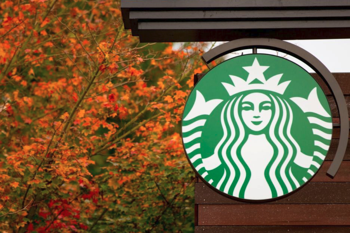 Starbucks store sign in the fall