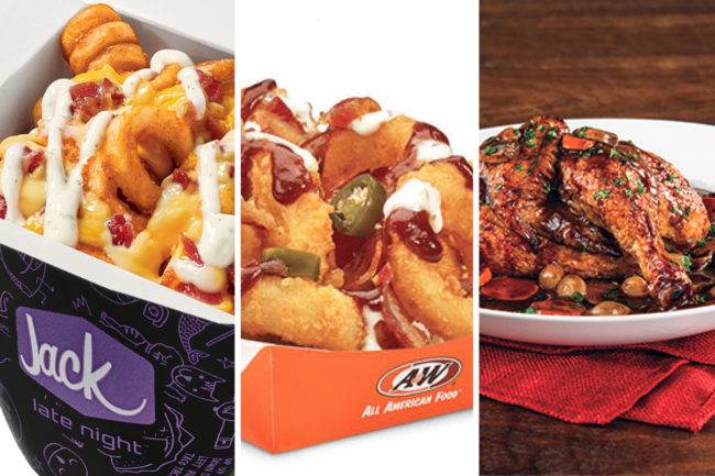 Menu items with bacon toppings