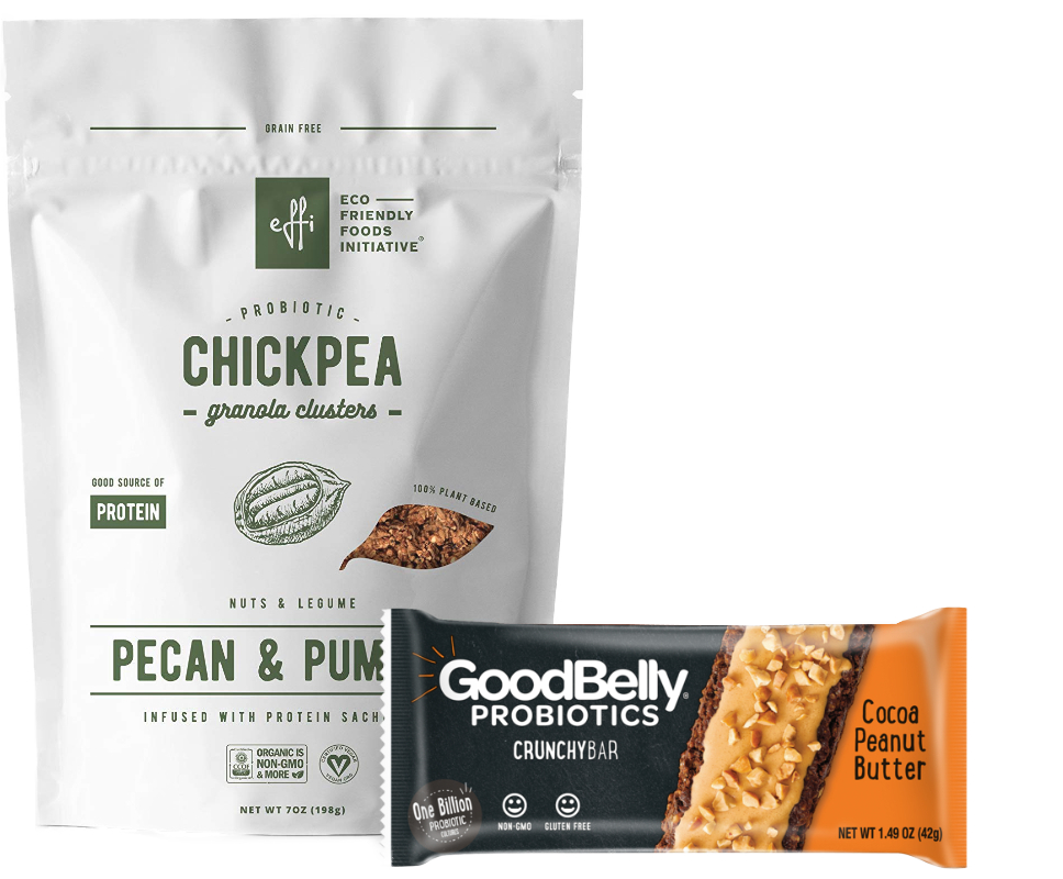 Effi probiotic granola and Goodbelly Crunchybars